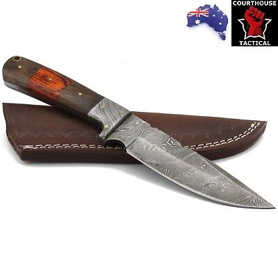 Handmade Hunting Knife, Damascus Blade, Walnut Wood & Pakka Wood Handle, Sheath