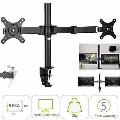 "13-26"" Dual LED Desk Mount Monitor Stand Bracket Two LCD Screen TV Black Color"
