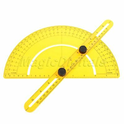 Plastic Angle Engineer Protractor Finder Measure Arm Ruler Gauge Goniometer Tool