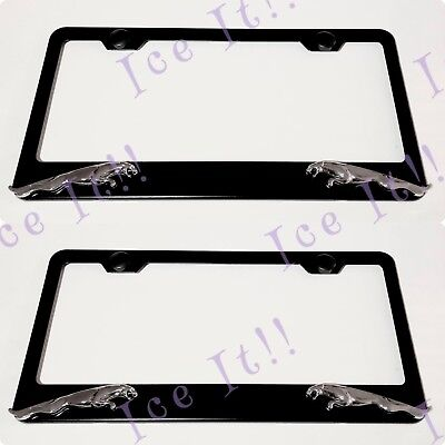2X 3D Trail Hawk Jeep Black Stainless Steel License Plate Frame Rust Free