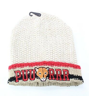 "Collection 18 NEW Beige Red Women's One US Size ""PUURRR"" Cuffed Knit Beanie #693"