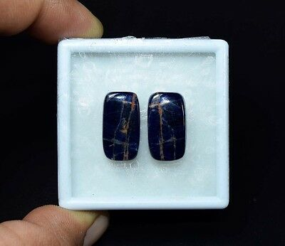 17.75 Cts. 100% Natural Pair Of Multi Sodalite Cushion Cabochon Loose Gemstones