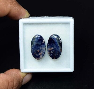 23.00 Cts. 100% Natural Pair Of Multi Sodalite Oval Cabochon Loose Gemstones