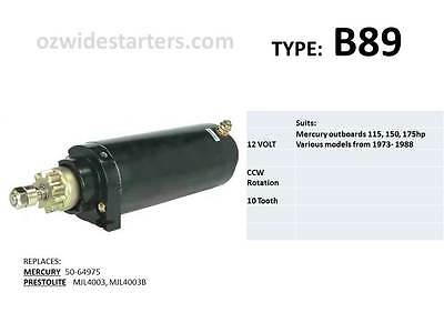 Mercury starter motor suits many 115hp, 150hp, 175hp from 1973-1988