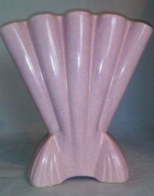 "Brush Pottery Co #721 Footed Pink Fan Vase 1950s Art Deco Large 12.5"" Tall USA"
