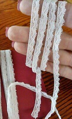 "1/4"" thin tiny French Valencienne lace  antique  3 yards"