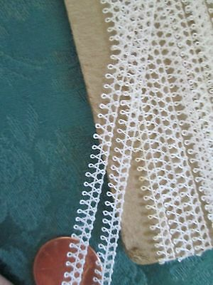 Tiny Picoted Princess lace making edging trim Antique French COTTON  7+ yards