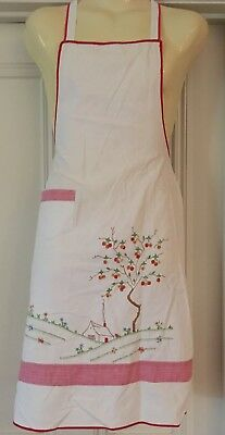 Vintage Embroidered Cotton Apron