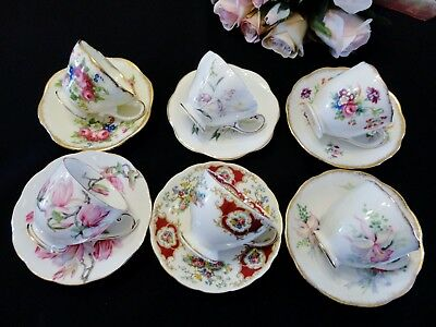 Six Exquisite Bone China Demitasse Cups & Saucers - Foley & Roslyn China