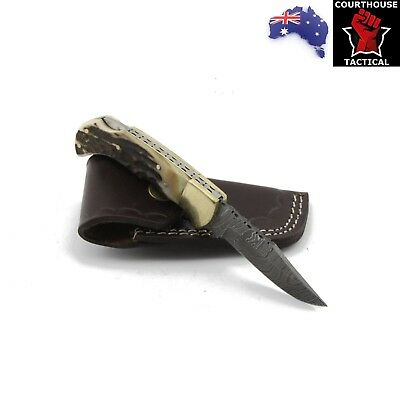 Handmade Folding Knife, Damascus Blade, Stag Horn & Brass Handle, Leather Sheath