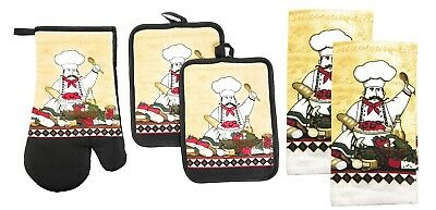 5 pc SET: 2 POT HOLDERS,1 OVEN MITT & 2 TOWELS, FAT CHEF COOKING by KC