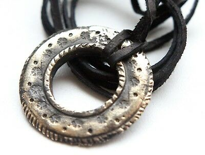 Antique Solid Bronze Ornament Round Pendant On Leather Cord (FBR)