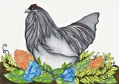Chicken In The Garden Original Art Australian Artist