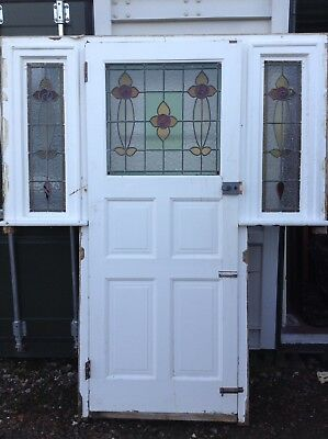 Antique Stained Glass Leaded Period original 1930's Front door Sidelights Frame