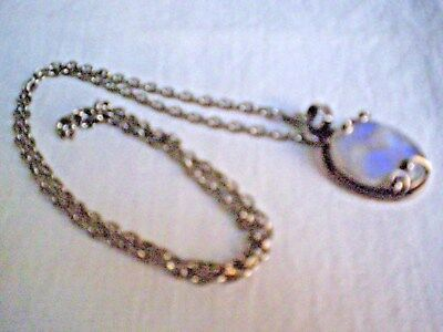 Sterling Silver 925 Pendant Moonstone  Set In Silver & Chain. Free Postage