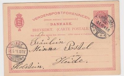 Denmark-1895 10 ore red PS postcard H&G 22 a Copenhagen cover to Germany