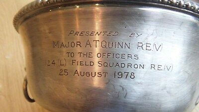 Vintage Royal Engineers 124th (L) Field Squadron to Officers presentation Bowl