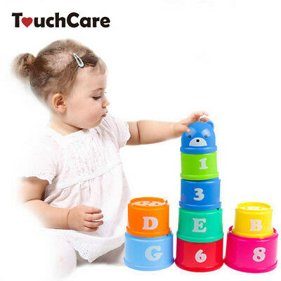 Educational kids Toys Figures Letters Folding Cup Stacking Pagoda Baby Children