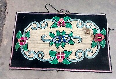 """Antique Vintage Rectangular Hooked Area Rug ~24""""x 38.75"""" Floral Pansy Decorated"""