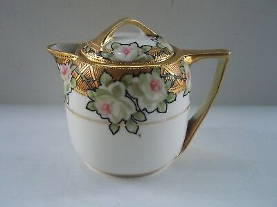 Nippon White Rose Porcelain Creamer Pitcher Beaded Gold Trim Hand Painted