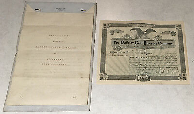 1898 Railway Coal Recorder Co. Stock Cert + Patent Office Description > No Rsrv