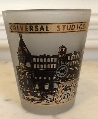 Universal Studios, Florida 22K Gold Trimmed Shot Glass Panoramic Frosted Glass
