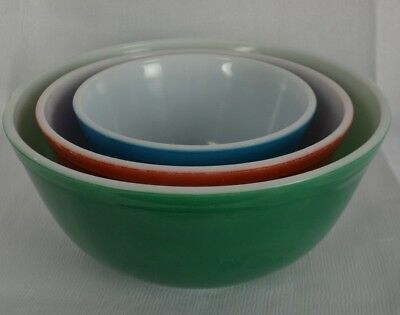 Vintage Pyrex Mixing Bowls Stacking Blue Red Green Glass Nesting Stacking Kitsch