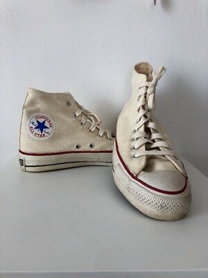 Vintage 1970s 1980s Converse All Stars High Top Sneakers Cream USA Size 8 AS IS