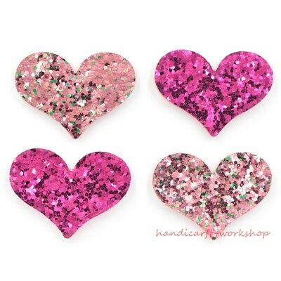 20Pcs Kawaii Pads Glitter Heart Patches/Applique for Clothes Sewing Supply Craft