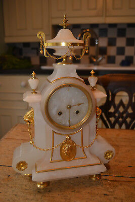 8 day french clock in elaborate white marble case for restoration