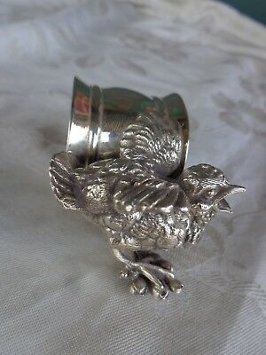 Antique Victorian Silverplate Squawking Baby Bird Figural Napkin Ring Holder