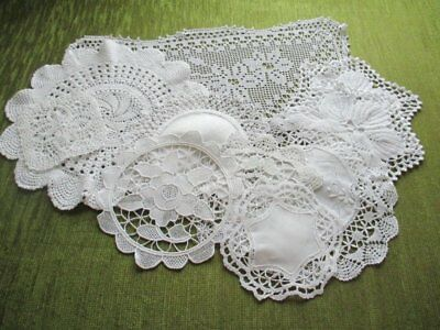 Vintage Mats Hand Crochet & Lace- Collection Of 10 - White
