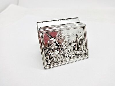 Antique Dutch Export 835 Silver Sailboat Scenery Snuff Box