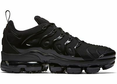 d0df1da529e NIKE AIR VAPORMAX PLUS 924453-004 TRIPLE BLACK BLACK DARK GREY MEN size 8-