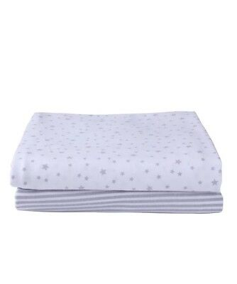 New Clair De Lune Grey Stripe Star 2 Pack Moses Cotton Jersey Fitted Sheets