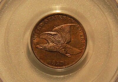 1857 Flying Eagle Cent PCGS MS63  VERY PQ