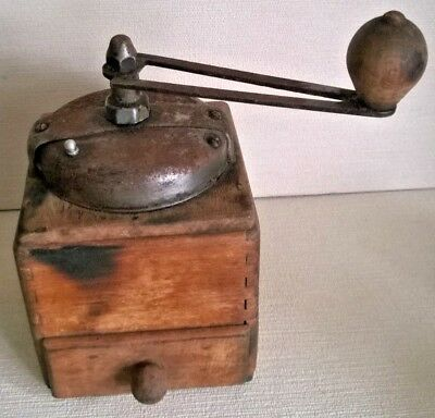 Vintage Unrestored French Coffee Grinder / Mill  Wood and Metal