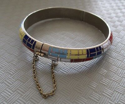 STUNNING Enamel Inlay Geometric Design Hinged Bangle Bracelet (NJL53