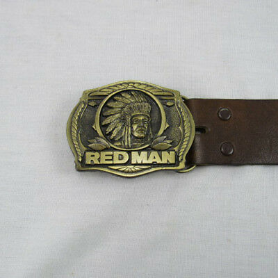 Red Man Belt Buckle with Belt The Pinkerton Tobacco Company 1988 Limited Edition
