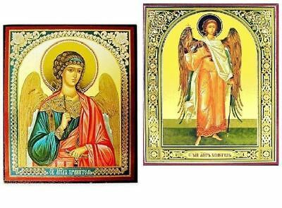 """Guardian Angel Wooden Icon  Russian Gold Silver Foil BEAUTIFUL Set of 2 Icons 3"""""""