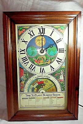 Burpee's Seeds Centennial Planting Clock  Mechtronics Season Wood Case 15""
