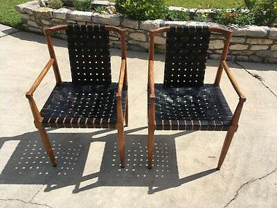 Tomlinson Sophisticate Leather Strap Chairs, Eames, Knoll, Danish Modern
