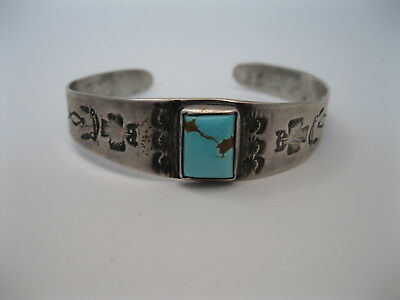 Great Old Navajo Fred Harvey Silver & Turquoise Bracelet w Owl Stamps