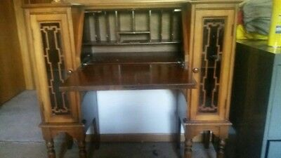 ANTIQUE WRITING DESK SECRETARY DROP SLANT FRONT W/Glass Side Panels
