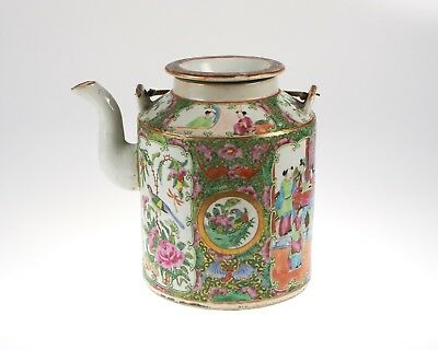 Large antique 19th century Chinese Famille Rose porcelain teapot