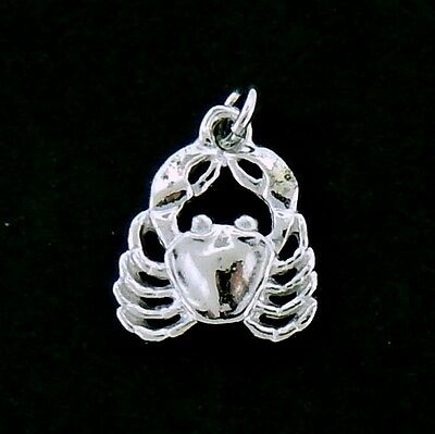 Crab Charm/ Pendant in Sterling     Flat 3/D   Details Top and Bottom