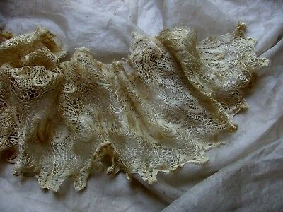 Most Gossamer Fine Delicate Silk Antique Spider Web Lace Trim Yellow Cream Fairy