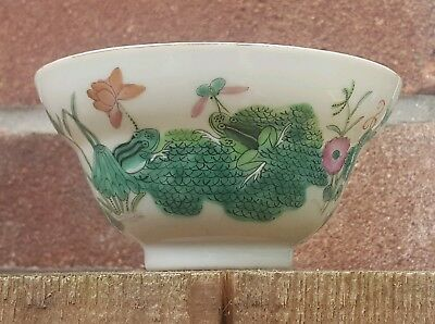 Antique Chinese 19th Century Daoguang Mark Fimille Verte Ogee Bowl Frog Toad