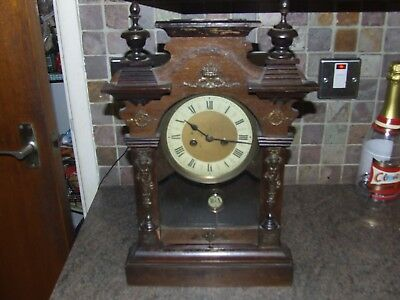 Old Wood Case Clock with key requires attention