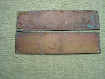 "Pair Of Heavy Vintage Brass Flat Metal Door Plates Approx. 12"" Long And 3"" Wide"